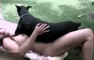 Zoophile loves this black doggy